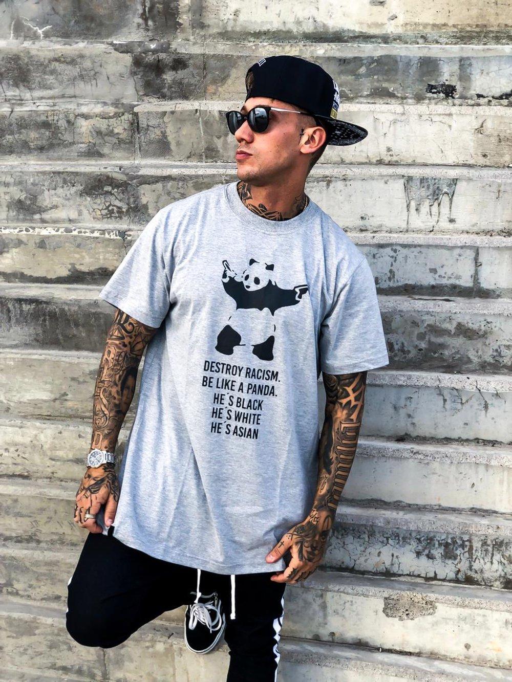 Camiseta Basic Urso Panda Cinza