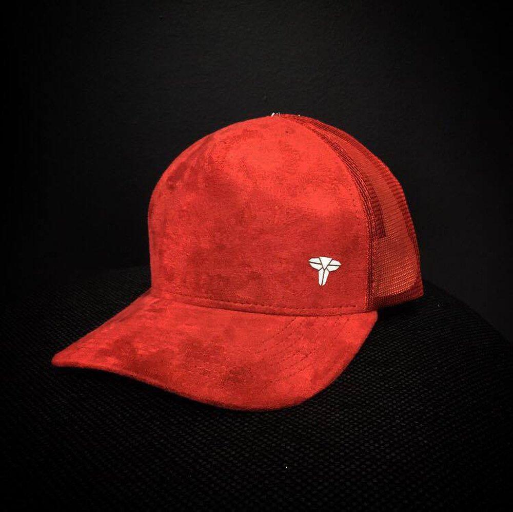 Bone Trucker Hat Diamond Red