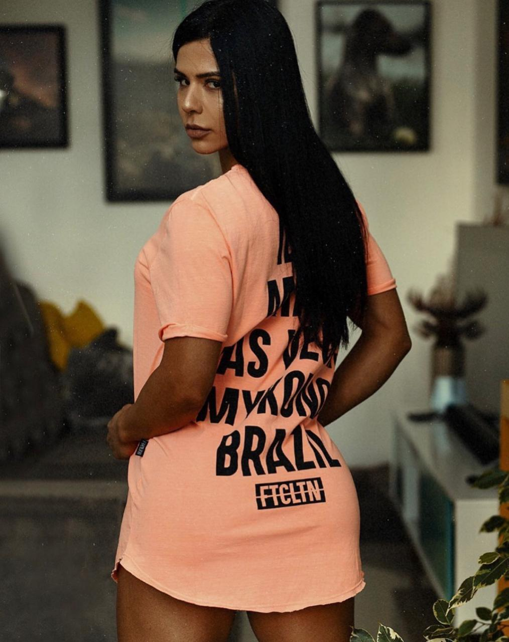 T-SHIRT DRESS FEMININA IBIZA LARANJA NEON